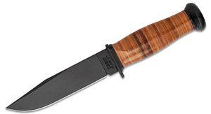 KA-BAR 2225 USN Mark I Fighting / Utility Knife 5-1/8 inch Plain Blade, Leather Handle, Brown Leather Sheath