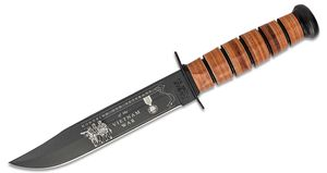 KA-BAR 9139 US Army Commemorative Vietnam Fighting Knife 7 inch Plain Blade, Leather Handles, Leather Sheath