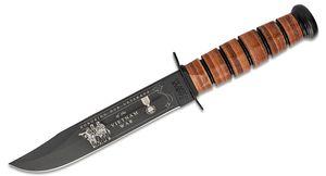 KA-BAR 9141 USN Commemorative Vietnam Fighting Knife 7 inch Plain Blade, Leather Sheath, Leather Handles