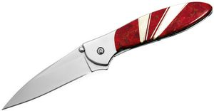 Kershaw 1660JC Ken Onion Leek by Santa Fe Stoneworks Assisted Flipper Knife 3 inch Blade, Red Coral and Mother of Pearl Jewelry Collection