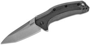 Kershaw 1776T Link Assisted Flipper Knife 3.25 inch Stonewash Plain Tanto Blade, Black GFN Handles