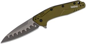 Kershaw 1812OLCB Dividend Assisted Flipper Knife 3 inch N690 and D2 Composite Bead Blasted Plain Blade, Olive Aluminum Handles