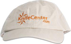 KnifeCenter.com Cotton Cap/Hat by Adams Headwear, Ivory with Orange Logo
