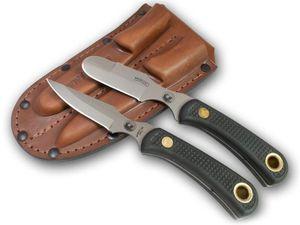 Knives of Alaska Muskrat/Cub Bear Combo Set, Black Santoprene SureGrip Handles, Brown Leather Sheath