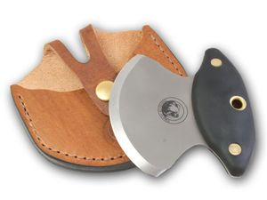 Knives of Alaska Magnum Ulu Knife 3.4 D2 Bead Blast Blade, Black Santoprene SureGrip Handles, Brown Leather Sheath