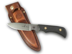 Knives of Alaska Trekker Elk Hunter Fixed 4.375 inch D2 Bead Blast Blade, Black Santoprene SureGrip Handles, Brown Leather Sheath