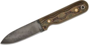 L.T. Wright Bushcrafter HC Fixed Blade Knife 3.95 inch Saber Grind 1075, Python Micarta, Leather Sheath