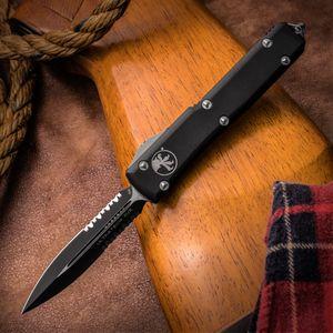 Microtech 122-2 Ultratech AUTO OTF Knife 3.46 inch Black Double Combo Edge Dagger Blade, Black Aluminum Handle