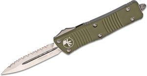 Microtech 138-6OD Troodon AUTO OTF Knife 3.06 inch Satin Plain/Serrated Double Edge Dagger Blade, OD Green Aluminum Handles