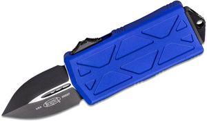 Microtech 157-1PU Exocet OTF Money Clip AUTO Knife 1.98 inch Black Double Edge Blade, Purple Aluminum Handles