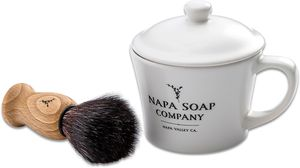 Napa Soap Company Ceramic Shaving Soap Gift Set, Cool Mint
