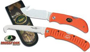 Outdoor Edge Grip Hook Knife and Saw Combo 3.2 inch Blade, Orange Kraton Handles