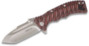 Proelia Knives TX010RS Tactical Folding Knife 4 inch Satin D2 Tanto Blade, Red and Black G10 Handles