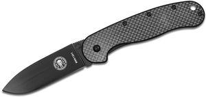 Avispa Folding Knife 3.5 inch Black D2 Blade, Carbon Fiber and Stainless Steel Handles, Designed by ESEE