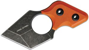 Real Steel Knives Black Cat Neck Knife 2.13 inch 9Cr18MoV Black Stonewash Tanto Blade, Orange G10 Handles, Kydex Sheath