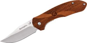 Remington Heritage R40001 Folding Knife 3.06 inch Clip Point Blade, Textured Guibourtia Wood Handles