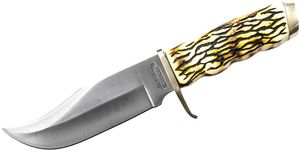 Schrade Uncle Henry Pro Hunter Fixed 5.375 inch Satin Blade, Delrin Stag Handles, Brown Leather Sheath