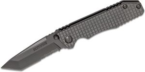 Schrade SCH308S Frame Lock Folding 3.4 inch Tanto Combo Blade, Textured Stainless Steel Handles