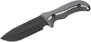 Schrade SCHF36M Frontier Fixed 5.05 inch Black 8Cr13MoV Blade, Micarta Handles, Nylon Sheath, Ferro Rod, Sharpening Stone
