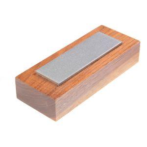 EZE-LAP Coarse Stone on a Walnut Pedestal. No Groove - 1 inch x 3 inch Diamond Stone