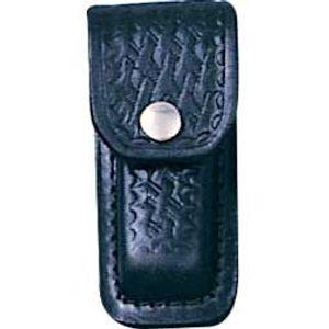 Basketweave Leather Sheath (Black) Fits 3 inch to 3-1/2 inch Folders