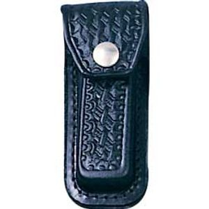 Basketweave Leather Sheath (Black) Fits 3-1/2 inch to 4 inch Folders