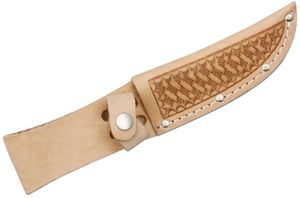 Basketweave Leather Sheath (Natural) Fits up to 4 inch Fixed Blade