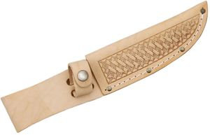 Basketweave Leather Sheath (Natural) Fits up to 5 inch Fixed Blade