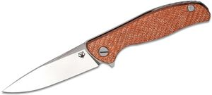 Shirogorov Hati R Flipper Knife 3.875 inch M390 Drop Point Blade, Milled Orange Alutex and Titanium Handles