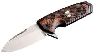 SIG Sauer by Hogue Elishewitz EX-02 SIG Flipper 3.75 inch 154CM Stonewashed Plain Spear Point Blade, Reinforced Walnut Handles