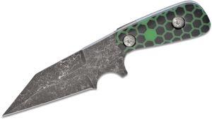 Skelton Bladeworks Custom Advanced Tibia Fixed Blade Knife 3.875 inch CPM-3V Dark Granite Wharncliffe Blade, Glow-in-the-Dark ShokRes Handles, No Sheath