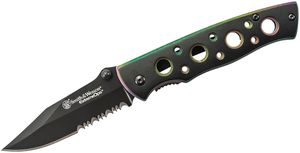 Smith & Wesson Extreme Ops Folding Knife 2.75 inch Black Combo Blade, Multi-Colored Liners, Black Aluminum Handles