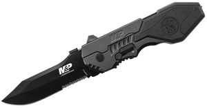 Smith & Wesson SWMP4LS M&P MAGIC Assisted Flipper 3.6 inch Black Combo Blade, Black Aluminum Handles with Rubber Inlay
