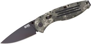 SOG Aegis Folding Knife Assisted 3.5 inch Black TiNi Plain Blade, Digi Camo GRN Handles