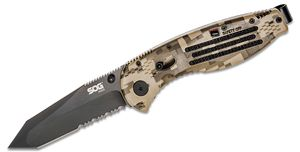 SOG Aegis Folding Knife Assisted 3.5 inch Black TiNi Combo Tanto Blade, Digi Camo GRN Handles