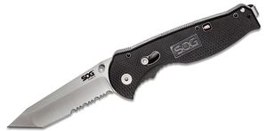 SOG Flash II Tanto Folding Knife Assisted 3.5 inch Satin Combo Blade, Black GRN Handles