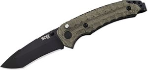 SOG Kiku Assisted Folding Knife 3.5 inch Black VG10 Blade, Green Linen Micarta Handles