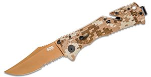 SOG Trident Folding Knife Assisted 3.75 inch Copper TiNi Combo Blade, Desert Digital Camo Handles