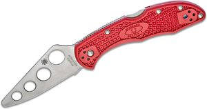 Spyderco Delica 4 Trainer Folding Knife 2.75 inch Unsharpened Blade, Red FRN Handles