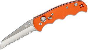 Spyderco Autonomy AUTO Folding Knife 3.65 inch H-1 Satin Serrated Blade, Orange G10 Handles