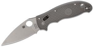 Spyderco Manix 2 Lightweight Folding Knife 3.37 inch Maxamet Satin Plain Blade, Gray FRCP Handles