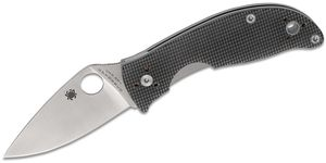 Spyderco Alcyone Folding Knife 2.91 inch CTS BD1 Satin Plain Blade, Gray G10 Handles