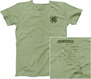 Spyderco Knife Anatomy Unisex T-Shirt, Heather Green, Small