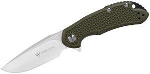 Steel Will Cutjack Mini C22M-1OD Flipper Knife 3 inch D2 Satin Drop Point Blade, OD Green FRN Handles