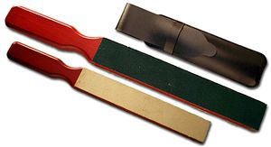 Thiers Issard Paddle Strop with 2 Leather Sides on a Slotted Paddle