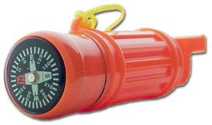 Survival Whistle Orange Plastic w/ Compass & Storage Compartment