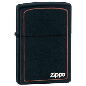 Zippo Black Matte Classic w/ Zippo Logo and Border