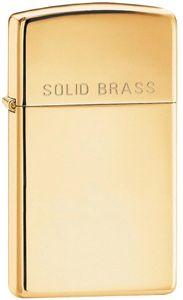 Zippo High Polish Brass, Slim, Engraved Solid Brass
