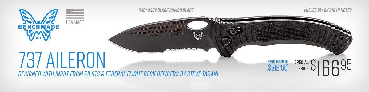 Shop for Serrated Black Benchmade 737 Tarani Aileron Folding Knife