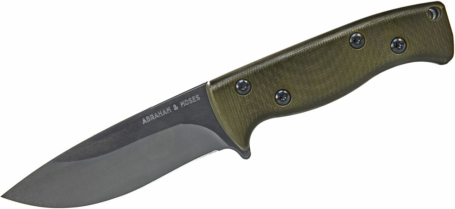 Abraham & Moses AM-1 Fixed Blade Knife 4.625 inch D2 Nano Black Drop Point, OD Green G10 Handles, Right Hand Leather Sheath